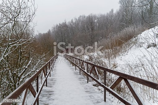 A footbridge at the bottom of the ravine. Landscape reserve Teply Stan. Cloudy day in December.