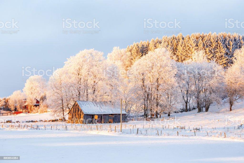 Paisaje de invierno con un antiguo pajar al atardecer - foto de stock