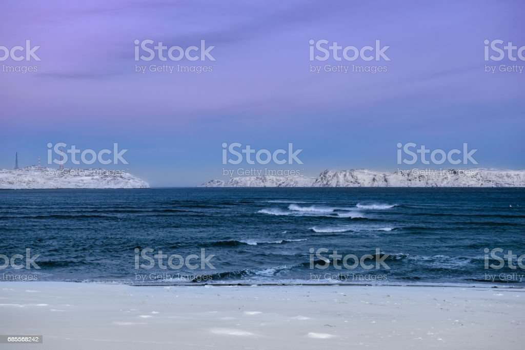Winter landscape with Barents Sea, Kola Peninsula, Russia stock photo