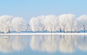 istock winter landscape with beautiful reflection in the water 186534154