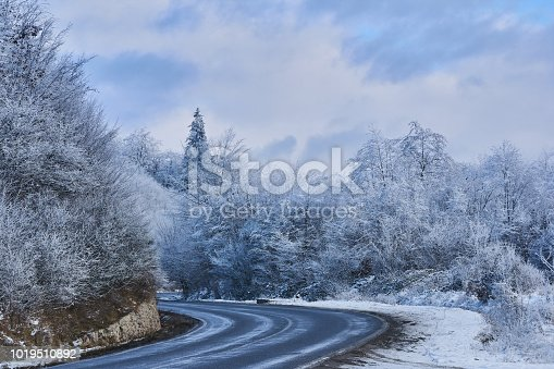 1066508460 istock photo Winter landscape with black road through trees with snow 1019510892
