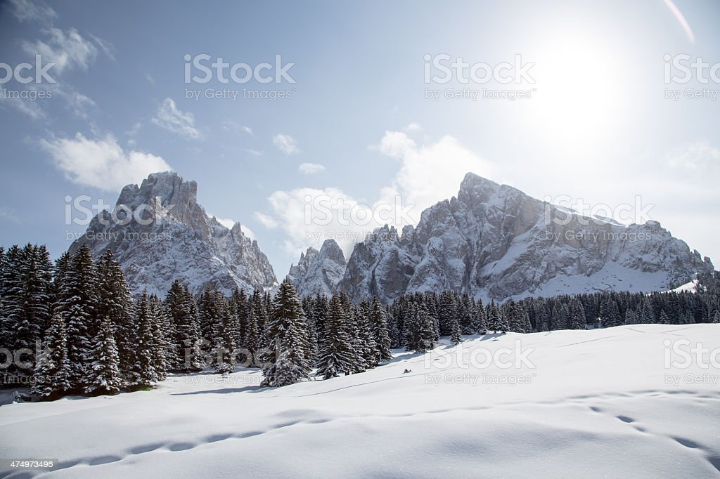 Winter landscape with breathtaking mountains stock photo
