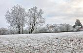 Winter landscape with castle Cerveny kamen, Slovakia