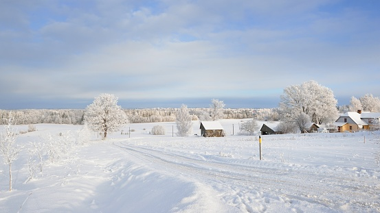 Winter landscape with cozy farm houses and a snowcovered rural road.