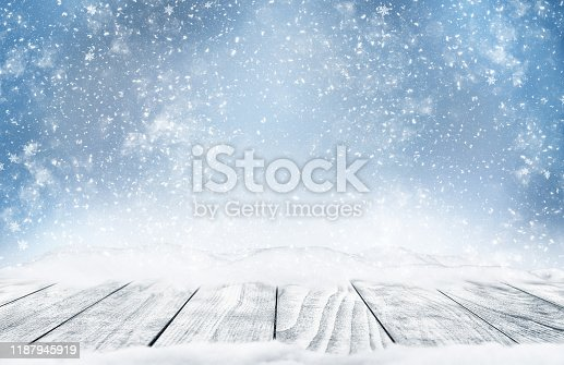Christmas winter bokeh background. Christmas tree with snow and abstract bokeh lights. Festive holiday background with short depth of field and space for text. Horizontal new year winter design.
