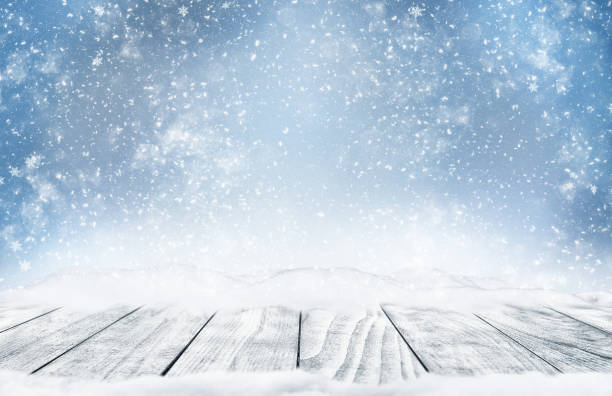 Winter landscape with falling snow. stock photo