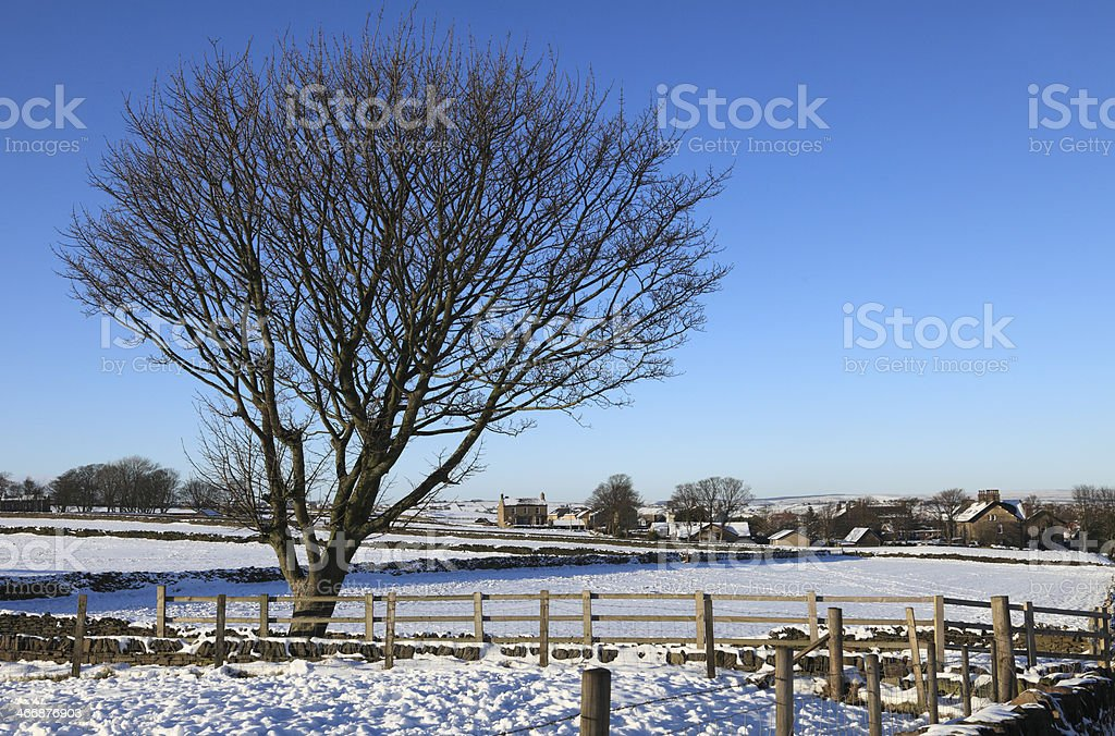 Winter landscape with farm house. royalty-free stock photo