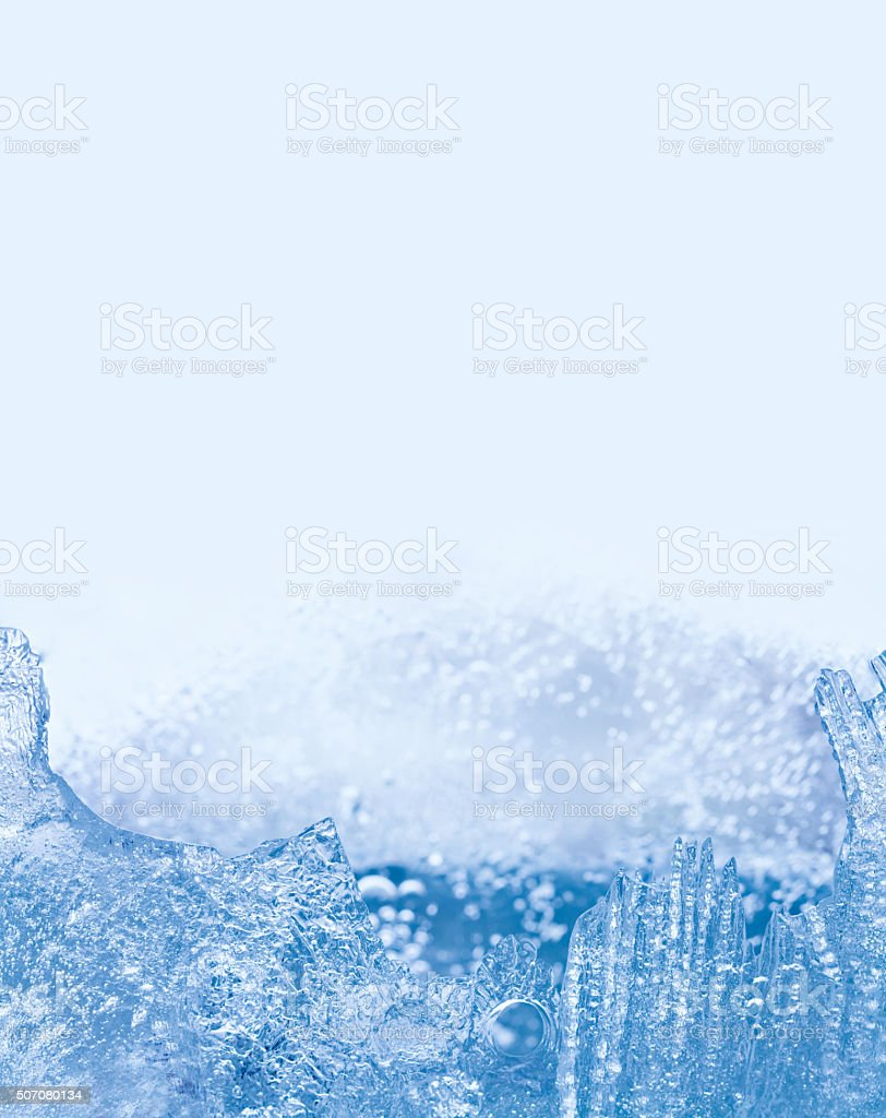 Winter landscape with frozen ice structure, icy surface. cold weather...