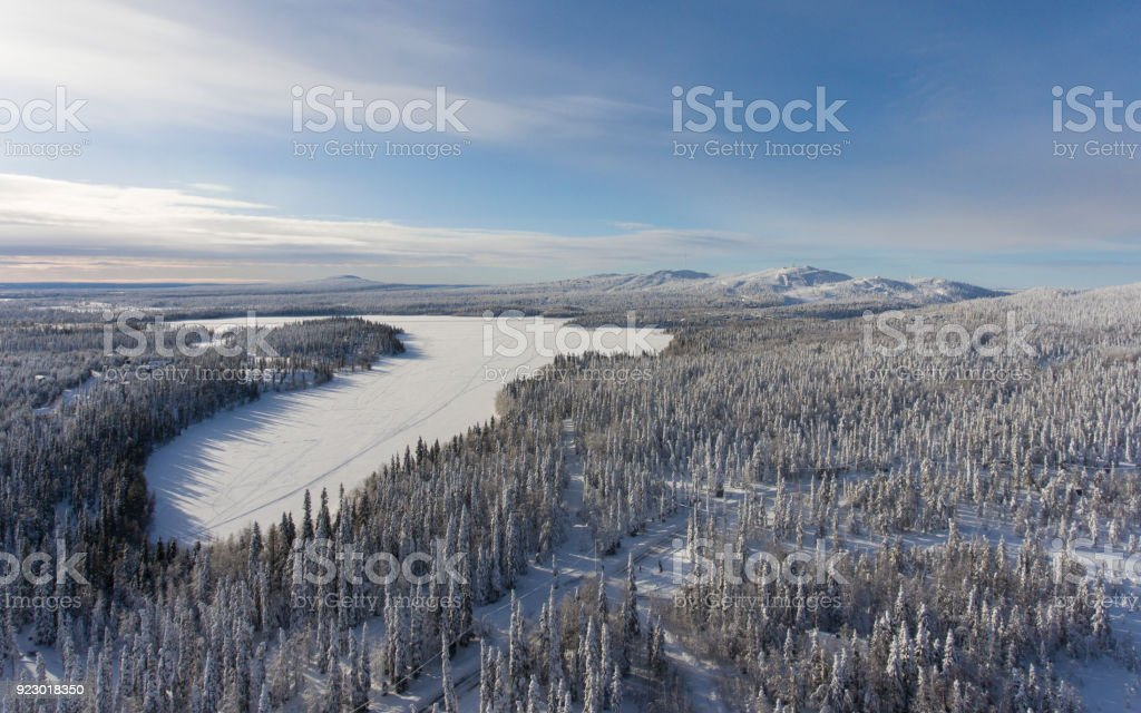 Winter landscape with heavy snow stock photo