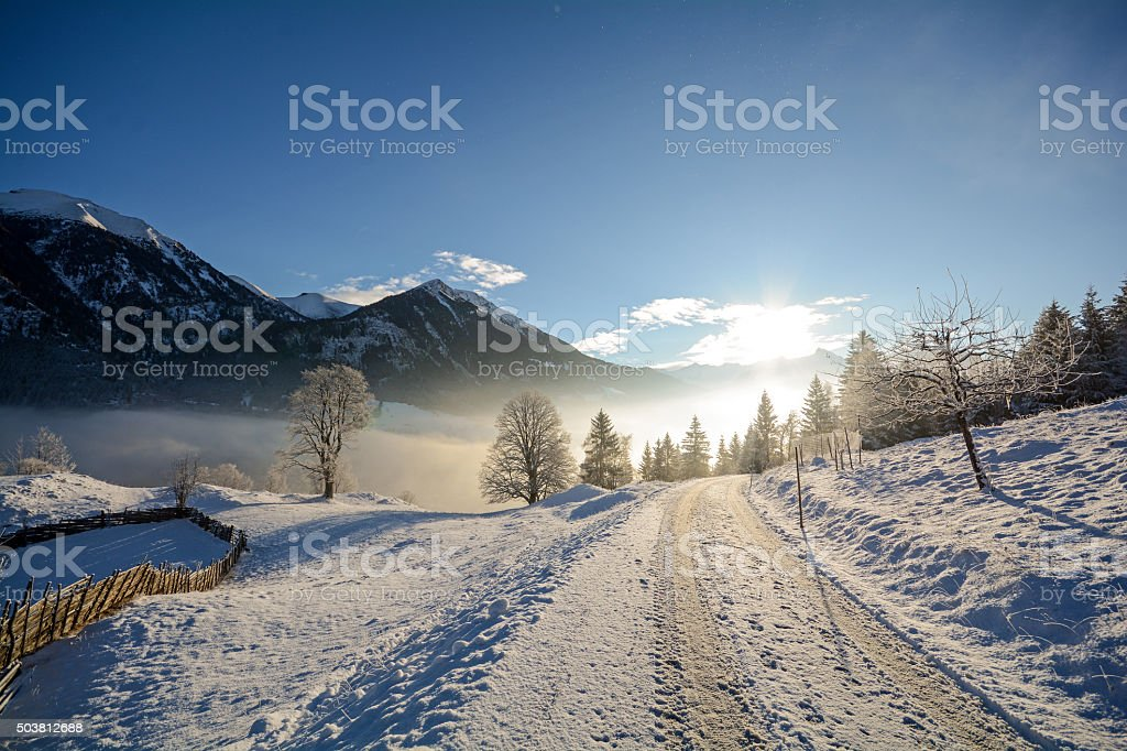 Winter landscape with mountain range - Alps Salzburg Austria Europe stock photo