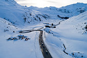 Aerial view of a winding mountain road, Julier Pass, Graubunden Canton, Switzerland.