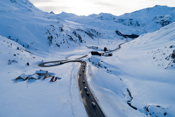 Winter Landscape with Mountain Road, Aerial View stock photo