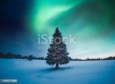 istock Winter Landscape With Northern Lights 1040372568