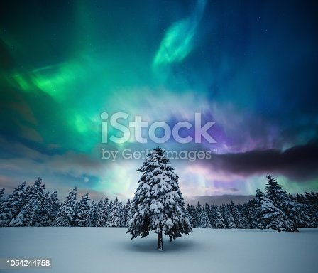 istock Winter Landscape With Northern Lights 1054244758