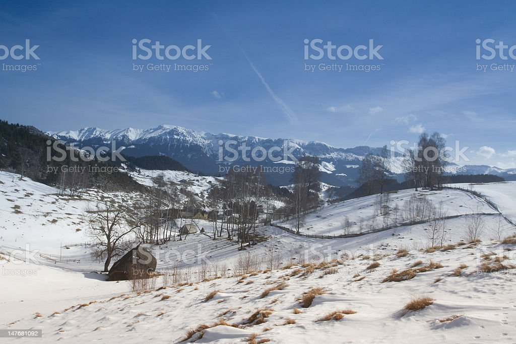 Winter landscape with old houses stock photo