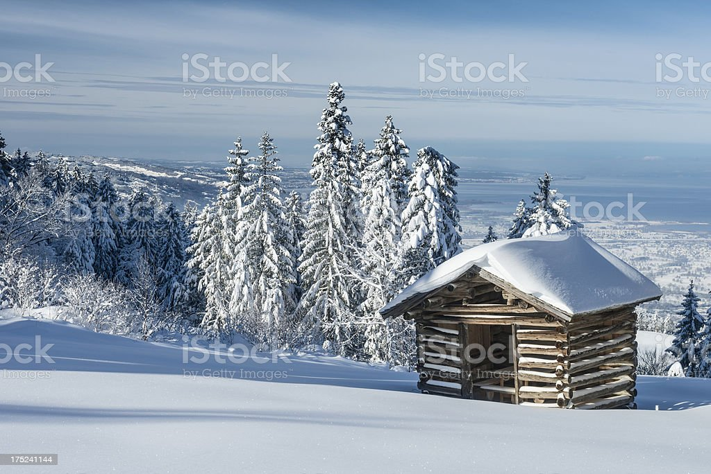 winter landscape with old hut royalty-free stock photo