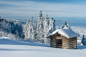 winter landscape in the austrian alps with old hut