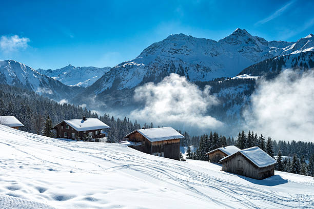 winter landscape with ski lodge in austrian alps Beautiful winter landscape with ski lodges beside the ski slope and the forest in vorarlberg, austria. There is some fog in the background in front of the mountains of the alps. ski resort stock pictures, royalty-free photos & images