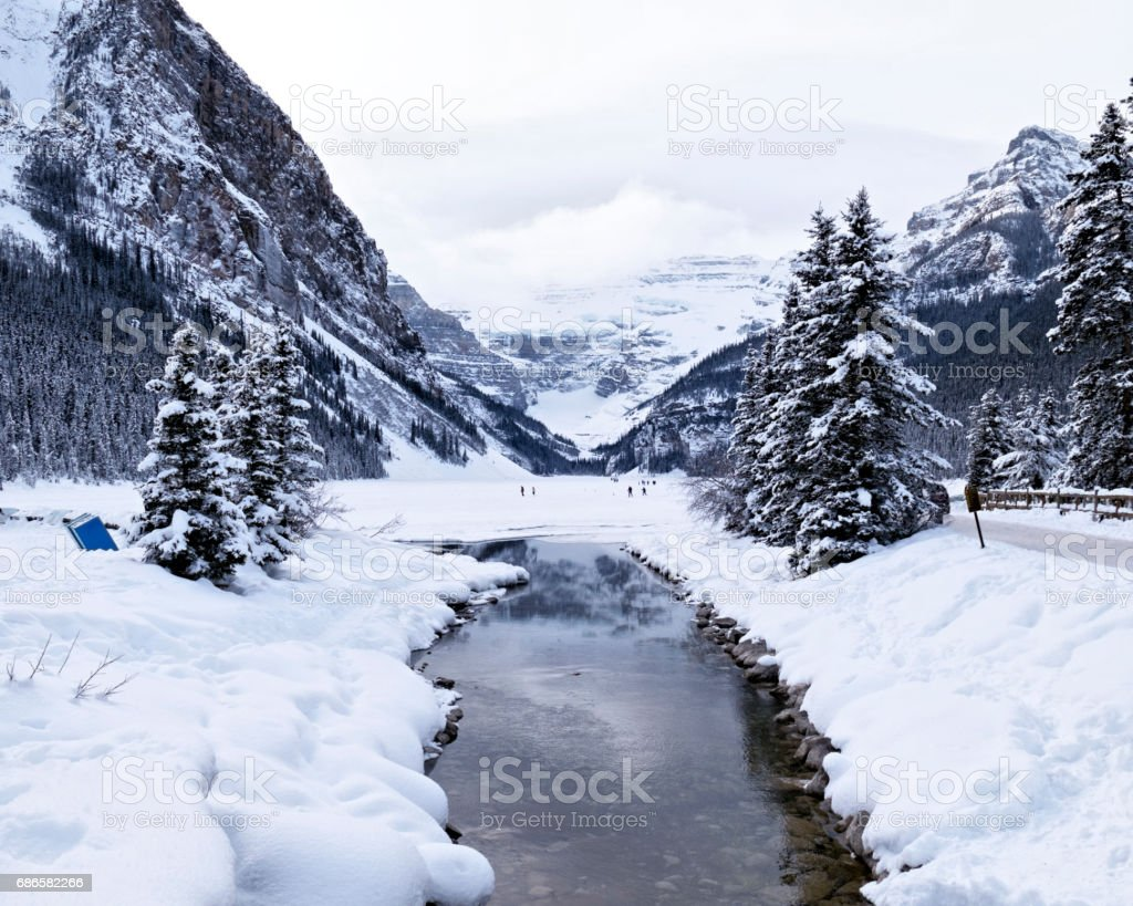 Winter  landscape with snow at  Lake Louise,Banff National Park,Alberta, Canada royalty-free stock photo