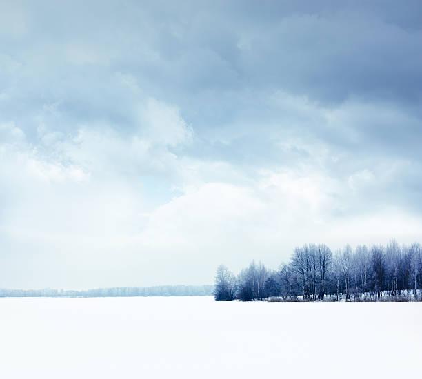 Winterlandschaft mit verschneiten Field und der Moody Sky – Foto