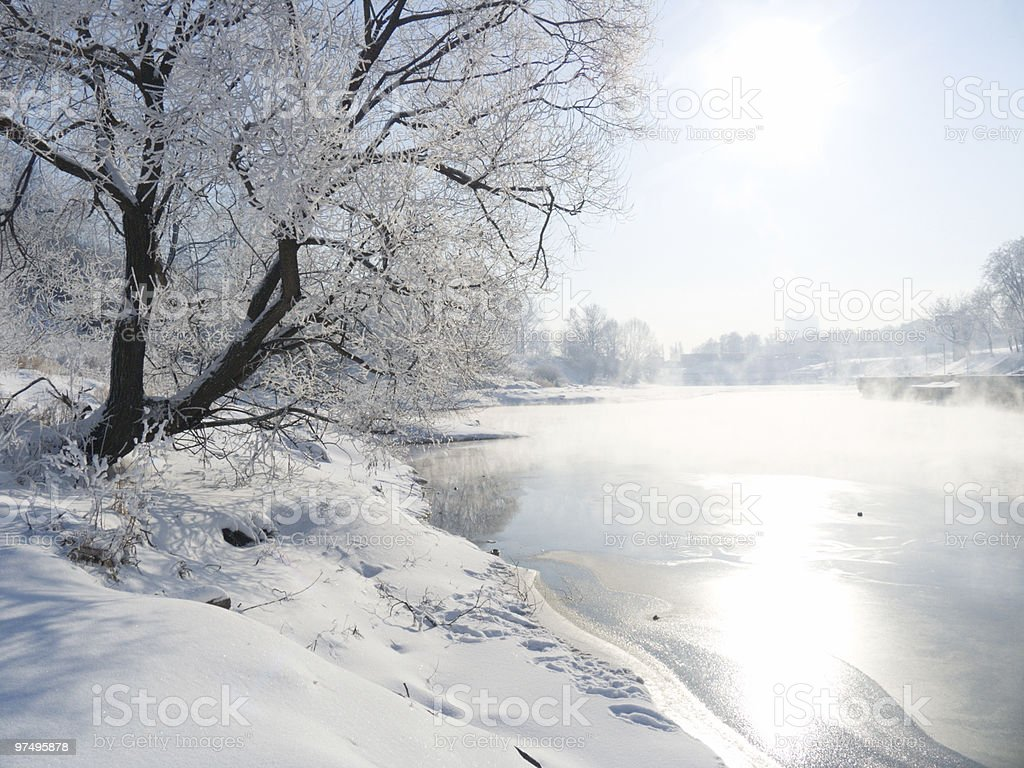 Winter landscape with the river royalty-free stock photo
