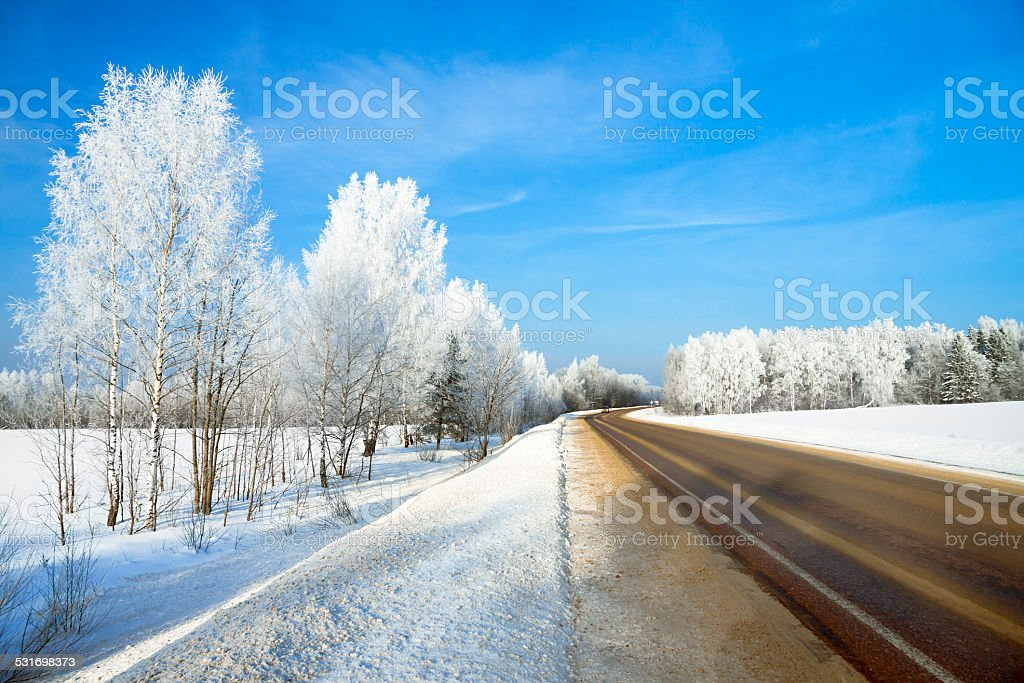 winter   landscape with the road stock photo