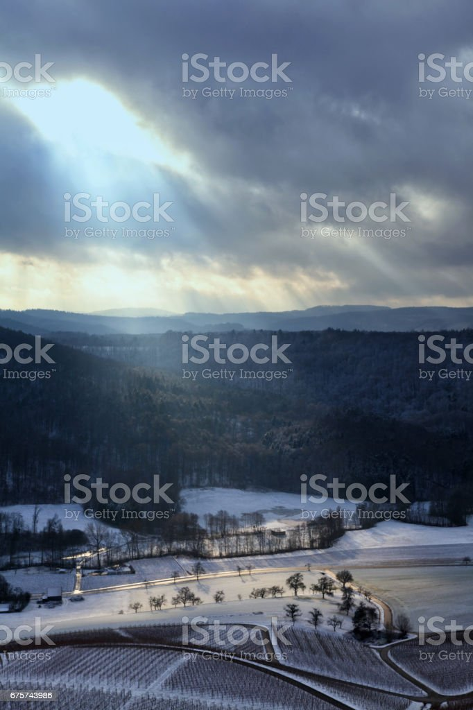 Winter landscape with vineyards and moody sky