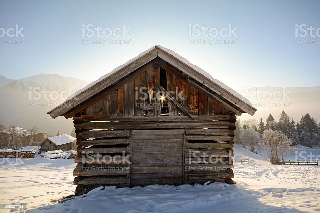 Winter-Landschaft mit hölzernen hut, Pitztal Alpen-Tirol, Österreich – Foto