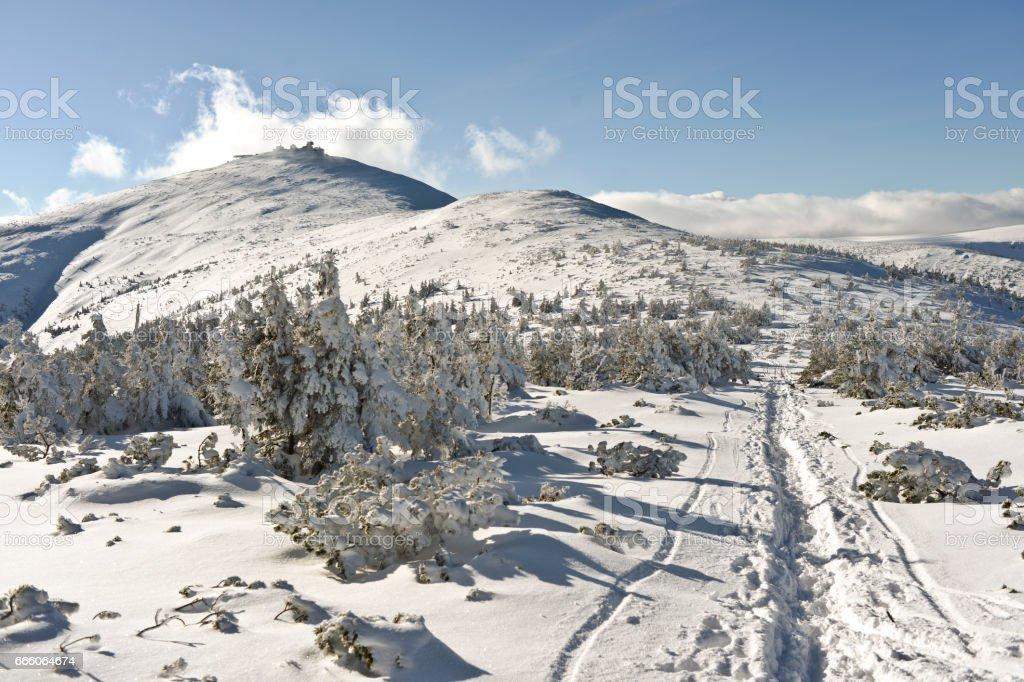Winter lanscape in Karkosze, Polish mountains stock photo