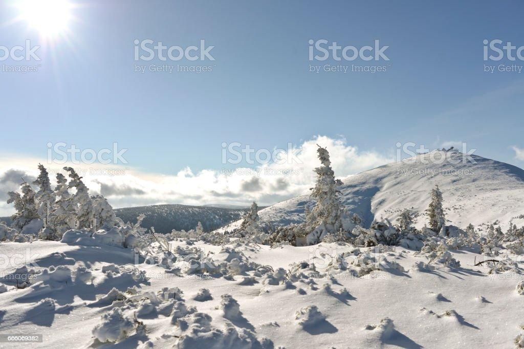 Winter lanscape in Polish mountain stock photo