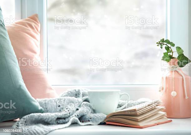 Photo of Winter life style background,cozy winter rest backdrop empty copy space.