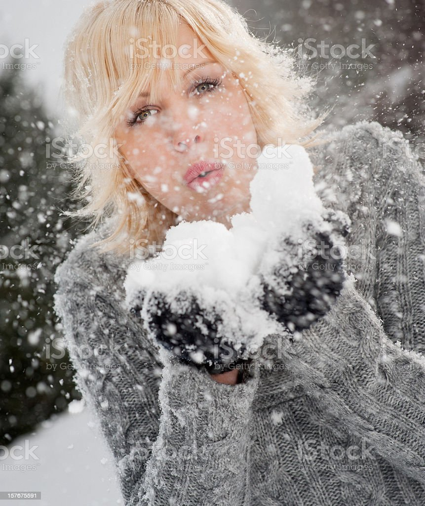 Winter Lifestyle Portrait - Blowing Snow royalty-free stock photo