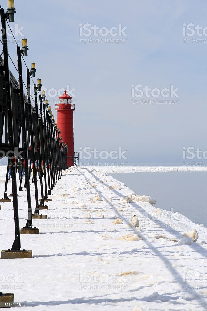 Winter Lighthouse in Grand Haven Michigan royalty-free stock photo