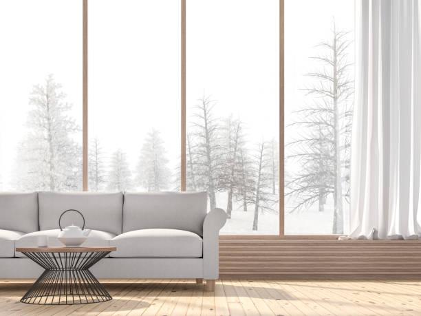 Winter Wohnzimmer mit Schnee Szene Hintergrund 3D rendern – Foto