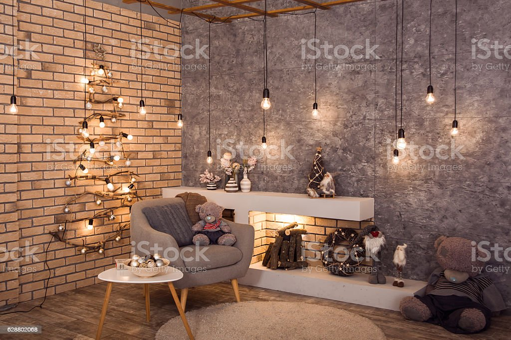 Winter Loft Style Room With Christmas Decoration Stock Photo ...