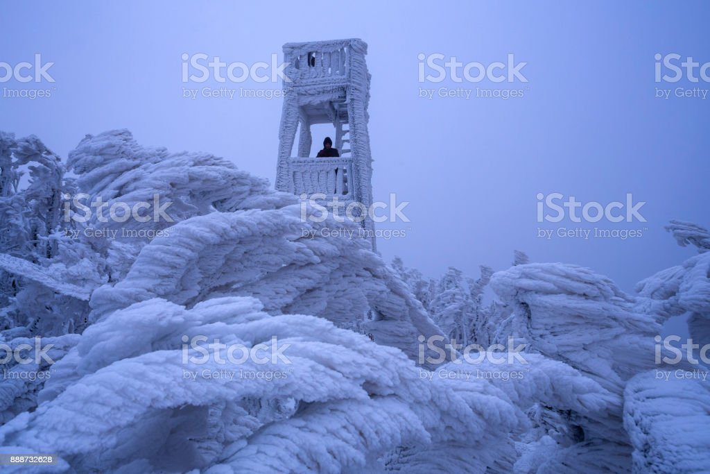 Winter lookout tower stock photo