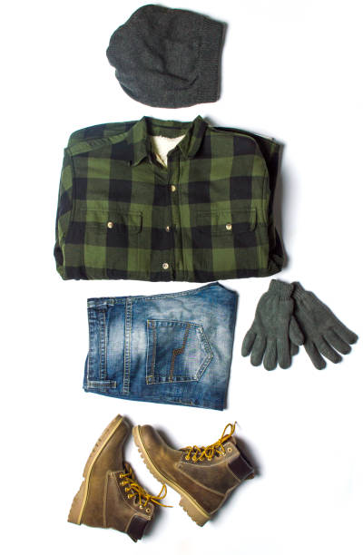Winter male fashion accessories from top to bottom - foto stock