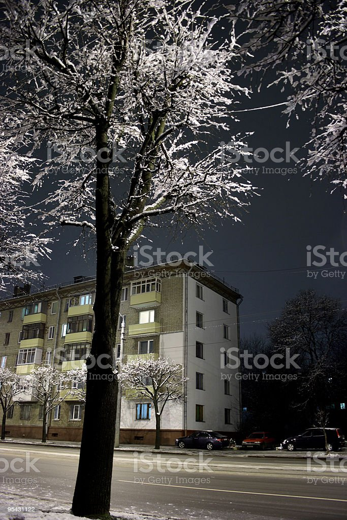 Winter Minsk by Night royalty-free stock photo