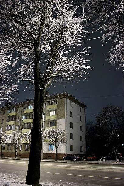 Winter Minsk by Night stock photo