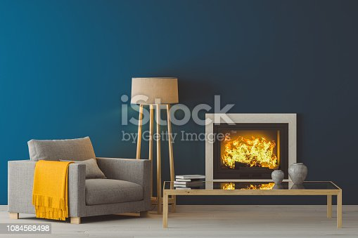 3D render image of interior design with fireplace. Scandinavian style living room.
