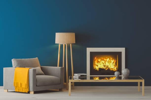 winter modern living room - kamin wohnzimmer stock-fotos und bilder