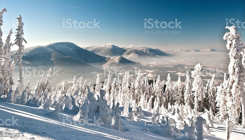 winter Moravskoslezske Beskydy mountains with clear sky stock photo
