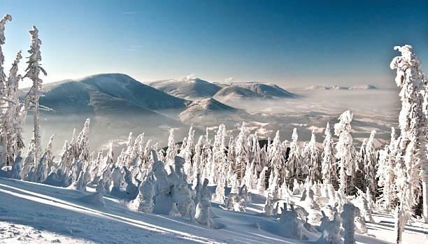 winter Moravskoslezske Beskydy mountains with clear sky stock photo
