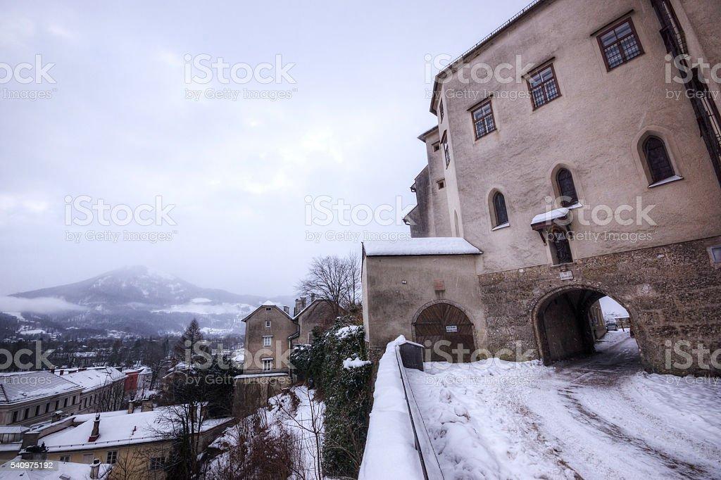 Winter Morning at the Nonnberg Abbey in Salzburg Austria stock photo