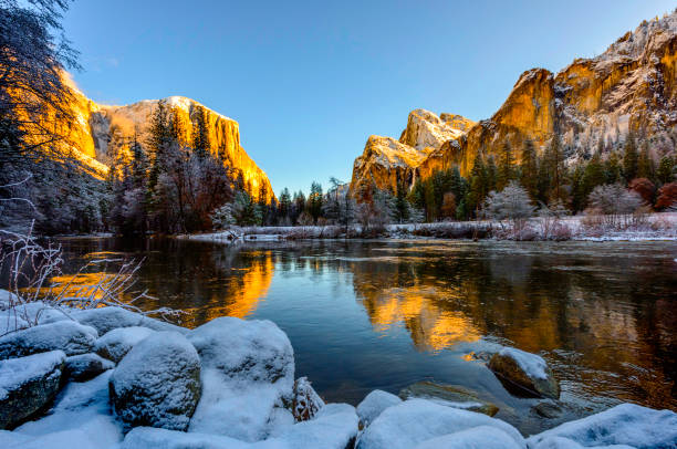 winter morning at yosemite national park - national park stock photos and pictures
