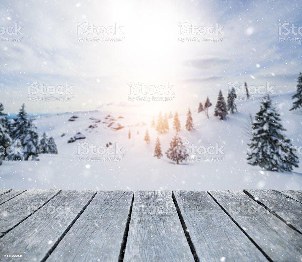 Winter morning blizzard stock photo