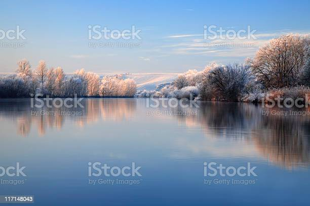 Photo of Winter Morning, Frost Covered Trees and Landscape Along River