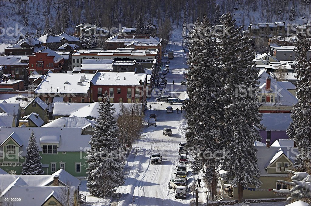 winter morning in small town royalty-free stock photo