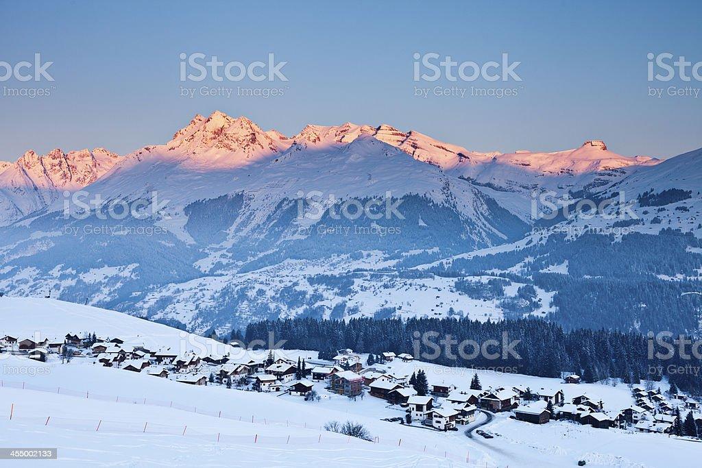 Winter Morning in Surselva stock photo
