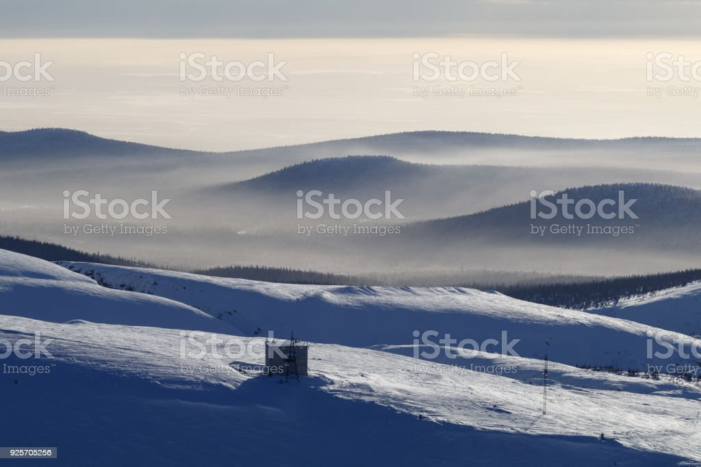winter morning in the mountains of Khibiny stock photo